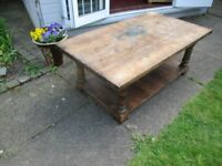 Solid real wood coffee table 120cm wide