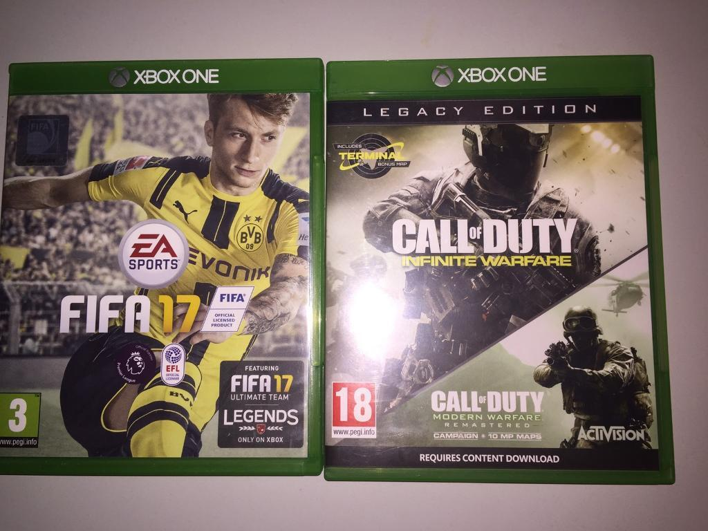 Xbox one gamesin Sunderland, Tyne and WearGumtree - Fifa 17 £ 20Call of Duty infinite warfare legacy edition £25Both games £40