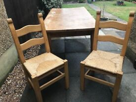Farm style table and 4 chairs