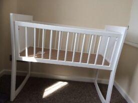 Brand New White Swinging Crib