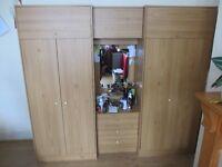 Nice 3x Triple Wardrobe with 3 top shelf 3 draws Mirror with light 2 hangers