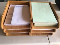 Two Bamboo Letter trays/racks/ A4 Size. Made by Rexel. Stackable