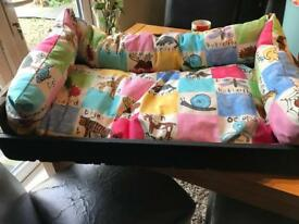 Fully hand reupholstered and hand painted dog bed 2
