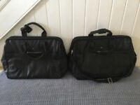2 men's black leather luggage bags (Domo)