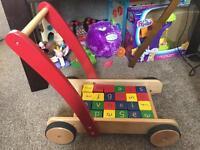 John Lewis wooden baby walker and blocks