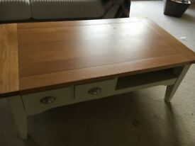 Dfs light brown and cream coffee table