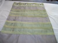 Green and Mocha Eyelet Striped Curtains
