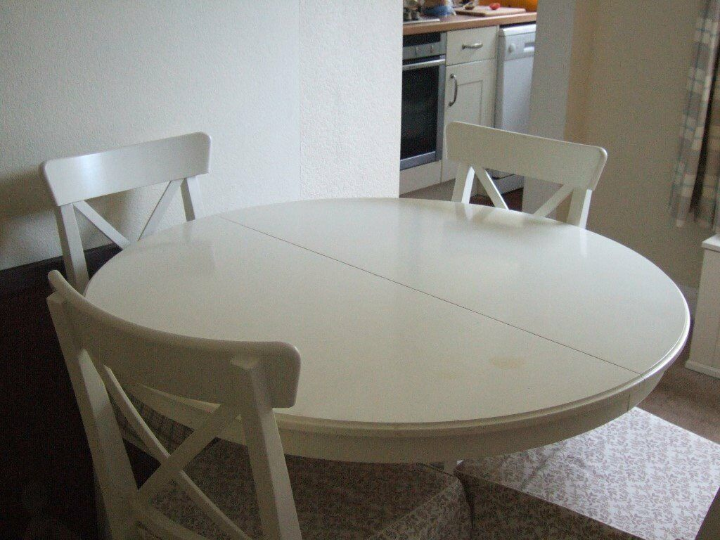 Round Dining Table Extendable Ikea Ingatrop 6 Chairs Ingolf In Kirby Muxloe Leicestershire Gumtree