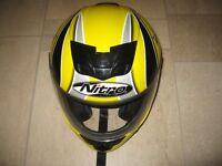 Nitro Racing Full Face Motorcycle Helmet - Yellow/Black/Silver