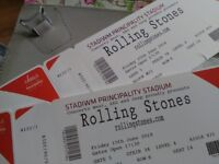ROLLING STONES CARDIFF 2 TICKETS FACING STAGE .SEATED.GR8 POSITION.PRICE FOR PAIR!!!