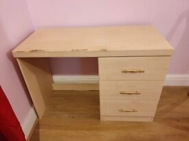 Cream Desk with Side Drawers