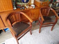 2 x Solid teak (leather seat) chairs, very sturdy, will last a lifetime