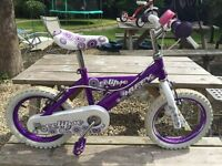 Eclipse Huffy Girls Bike with stabalisers and bell.