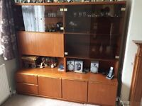 Wall Unit with glass display cupboard,drop down drinks cabinet,inc 2 drawers &3 cupboards