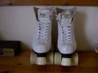 Ladies Sovereign white quad roller skates size 4