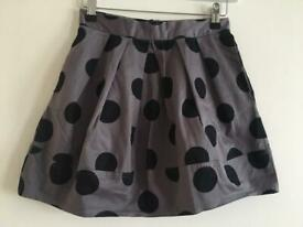 In Excellent Condition - Primark - Women's Grey & Black Spotted Skirt