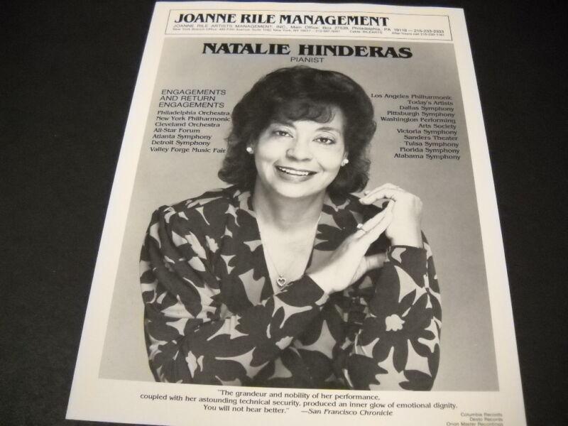 NATALIE HINDERAS 1985 Promo Display Ad w/ list of ENGAGEMENTS & RETURNS mint