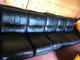 Black leather sofa / seating unit