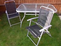 Garden furniture set 6 chairs + table with parasol stand