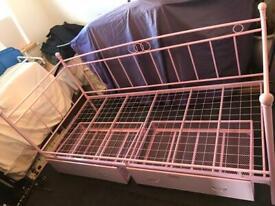 Quality Pink Metal Kids Child Girl Teenager Princess Single Day Bed Drawers
