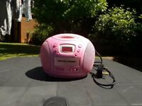 Pink radio/ CD player - Mains or battery operated