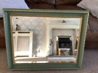 Large mirror, green and gold framed vintage baroque style wall mirror