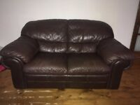 FREE TO GOOD HOME, one 3 seat dark brown leather sofa and one 2 seater