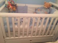 New Boori Country Royale cot bed with full size drawer n new mattress from John lewis 250