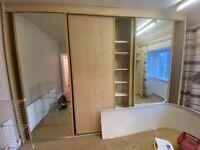3 large sliding wardrobe doors - maple and mirrored