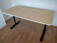 White Stained Oak Veneer IKEA Bekant Office Desk 160x80cm