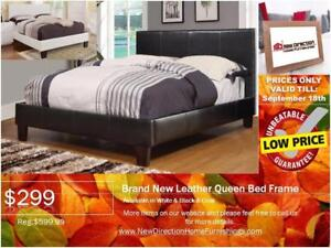Lowest Price Guarantee! Brand New Leather QN/DB Bed Frame@New Direction Home