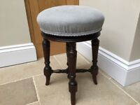 Reupholstered Victorian Circular Revolving Music Seat in Grey