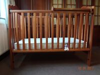 Baby cot with top changer and mattress and a dresser/changing unit