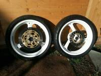 Set of cagiva mito 125 wheels with tyres and disc