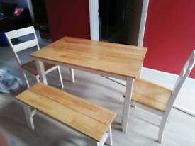 Dining table, 2 chairs plus bench