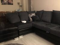 CHARCOAL GREY CORNER SOFA WITH CUDDLE CHAIR & FOOT STOOL