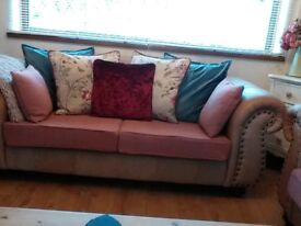 Thomas Lloyd Leather Sofa with Laura Ashley covers