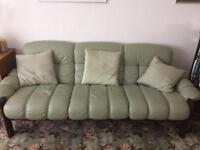 Mid-century light green leather sofa - three/four seater.