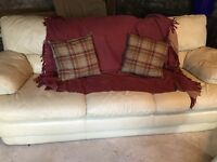 Lovely cream leather sofa couch