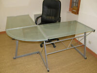 Clear glass topped angle bureau with steel frame