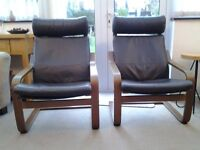 ikea poang chair 1only for sale brown leather cushions good condition