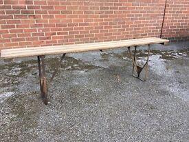 Vintage Folding Trestle Bench Military Reclaimed Mid Century