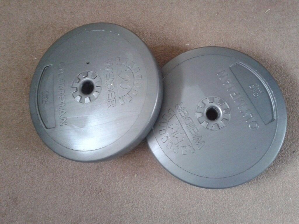 Two 10 kg Weider weights suitable for a dumbbell. Not used much.