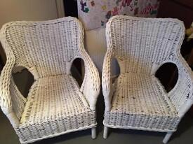 Pair of Large heavy wicker chairs