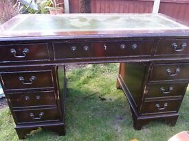 Chesterfield style leather wooden desk office