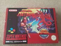 Super Metroid SNES box set, game, player manual