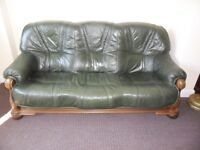 3 Seater Green Leather Settee Sofa with Heavy Solid Oak Wood Frame