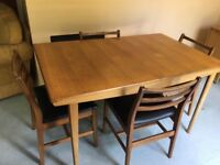 Dining Table & 6 Chairs - Vintage mid 60s Gplan style teak table and chairs