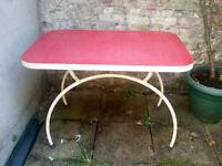 Red Vintage Retro Mid Century Dining/Kitchen Table - Rare Design, Halfmoon Curved Legs