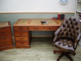 Stunning large Brown Leather Inlay Desk, Filing Cabinet and Chesterfield Captains Chair